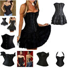 Black Sexy Bustier Corset Top Burlesque Basque Moulin Rouge Fancy Dress Boned