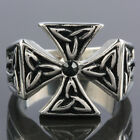 SZ 8-14 Biker Band Stainless Steel IRON CROSS Templar Men's Finger Ring Jewelry