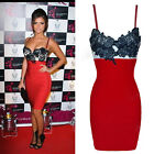 Womens Sexy Ladies Celeb Floral Lace Party Bodycon Evening Cocktail Formal Dress