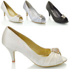 WOMENS BRIDAL LOW HEEL DIAMANTE BUCKLE LADIES PEEP TOE PROM PARTY SHOES SIZE 3-8