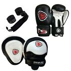 KIDS BOXING GLOVES PUNCH BAG JUNIOR MITTS & FOCUS PADS HAND WRAP TRAINING SET 4