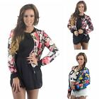 Womens New Flower Printed Zip Front Bomber Jacket