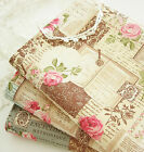 French Rose Antique Book Scripts Key Butterfly Lace Patch Cotton Linen Fabric