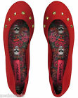 Betsey Johnson Studded Red Cloth Slip On Flat Shoes Slippers -- Choose Size!