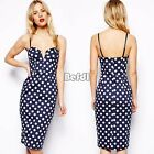 Women Polka Dot Bodycon V-neck Hip Pack Skirt Cocktail Summer Casual Party Dress