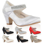 New Kids Satin Glitter Girls Diamante Mary Jane Low Heeled Party Shoes Size 10-2