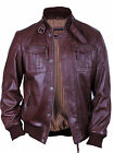 Mens All Leather Biker Jacket Vintage Look Brown Biker Style Crinkle Retro BNWT