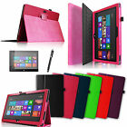 """Slim PU Leather Case Cover Stand For Microsoft Surface RT Surface 2 10.6""""+Gift"""