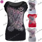 Womens Ladies Batwing Gothic Boat Neck Off Shoulder Rose Glitter T Tee Shirt Top