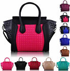 Designer Brand New Ladies Womens Smily Studded Fashion Tote Shoulder Handbag Bag
