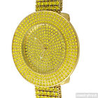 Gold Canary Yellow Iced Out 4 Row Big Bezel Hip Hop Bling Watch