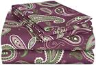 Flannel Sheet Sets/ Solid or Paisley/ 3 Colors & 5 Sizes Available
