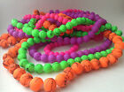 BRIGHT NEON COLOUR ROUND GLASS BEADS - CHOICE OF COLOUR AND SIZE