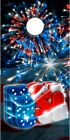 American Flag USA Patriotic Fireworks cornhole board game decal wraps