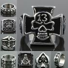 Biker Stainless Steel Skull Cross Crucifix Pirate Masonic Finger Ring Jewelry