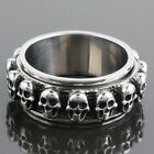 Men's Punk Biker Heavy Stainless Steel Skull Skeleton Finger Ring Metal Jewelry