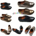 s015e16 Casual Womens Shoes Classic Lace Up Dress Oxford Low Flat Heel Bronze