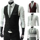 Men's  V-Neck Slim Fit Casual Dress Waistcoat Three Buttons Business Vest Tops