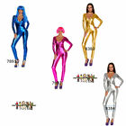 Catsuit Sexy wet look disco 70's diva costume fancy dress bodysuit  8 10 12 14