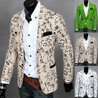 Mens Fashion Floral Blazer Casual Slim Fit Long Sleeve One Button Coat Jacket