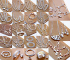 Wholesale new fashion gift 925Silver Jewelry set Bracelet Necklace Ring Earrings