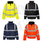 Hi Viz High Visibility Waterproof Safety Bomber Jacket Coat Yellow Orange Navy B
