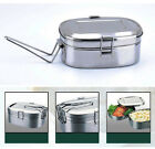 2 layer Stainless Steel Rectangle Shape Mess Tin Bento Lunch Box Food Container