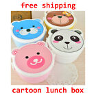 Microwaveable Plastic Cartoon Cute Double Layer Bento Lunch Case Box With Spoon