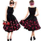 Chicstar Red Autumn Dress Black Vintage Hepburn Prom 50's Rockabilly Pinup