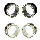 Value Pack 2 PAIRS Clear Green Crystal Black Silver Steel Flesh Tunnel Ear Plugs