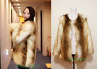 Womens Furry Soft Faux Fur Cream&Brown Mixed Coloe Long Jacket Coat