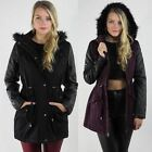 Ladies Women NEW Quilted PU Sleeve Parka Jacket Coat Fishtail Size 8 10 12 14 16