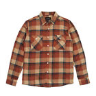 Brixton Bowery Long Sleeve Flannel Plaid Shirt Cream/Rust Skateboard/Surf/Cloth