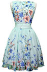 Lady V London Mint Butterfly Chiffon Tea Dress Rockabilly Pinup 50's