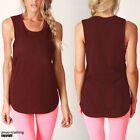 WOMENS NEW Deep Cut Tank Muscle Casual Style - Festival Gym Workout BNWT Cotton