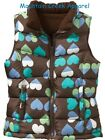 NWT OLD NAVY Girls Heart Graphic Quilted Puffer Vest Brown S (6-7) NEW