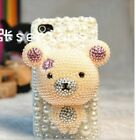 Cute 3D Handmade Bear iPhone 5 5s Diamond Pearl Case Cover Bling Crystal luxury