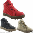 LADIES WOMENS FUR ANKLE WINTER FLAT CASUAL GRIP SOLE LACE UP TRAINERS SHOE BOOTS