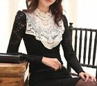 VTG Black ivory Lace Crochet pearl Victorian Collar long sleeve blouse top S M L