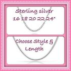 925 STERLING SILVER | 16 18 20 22 24 30 INCH CHAIN NECKLACE| CHOOSE | UK SELLER