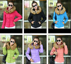 Womens Winter Fur Collar Hooded Cotton Down Jeaket Plus M-3XL Short Thin Coat