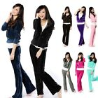 New Womens Ladies Full Hoodie Velour Tracksuit Jogging Joggers Tracksuits Top
