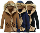 winter men ski coat fleeced jacket long hooded belt fur hat wool пальто куртка