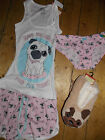 Primark Ladies Pug Dog Nightwear T Shirt Vest Shorts Pyjamas Set Slippers Briefs