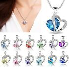 Retro Womens Fashion Heart Crystal Silver Plated Chain Pendant Necklace