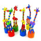 1/2X Baby Wooden Rock Giraffe Toy Standing Dancing Hand Doll Animal Colorful Toy