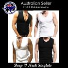 Mens Singlets Deep V Neck + V neck Tank Top  Slim Fit Stylish Gym muscle Singlet