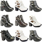 WOMENS LADIES CHELSEA CUT OUT TRIM BUCKLES BLOCK HEEL ANKLE BOOTS SIZE
