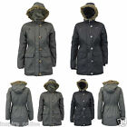 New Girls Kids Ava Fur PU Trim Children School Winter Hooded Parka Coat Jacket