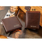 Men PU Leather Bifold Letter Print Credit/ID Holder Purse Short Wallet Billfold